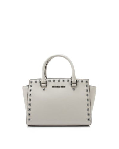 Michael Kors Michael Kors Selma Stud Medium Top Zip Satchel Bag (Cement) Bags - DNovo