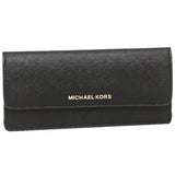 Michael Kors Michael Kors Jet Set Travel Slim Gold Tone Saffiano Wallet (Black) Small Leather Goods - DNovo
