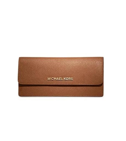 Michael Kors Michael Kors Jet Set Travel Slim Gold Tone Saffiano Wallet (Luggage) Small Leather Goods - DNovo