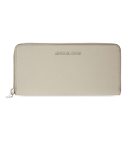 Michael Kors Michael Kors Jet Set Travel Silver Tone Zip Around Continental Wallet (Cement) Small Leather Goods - DNovo