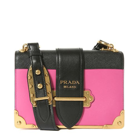 Prada Prada Cahier Leather Shoulder Bag (Fuschia/Nero) Bags - DNovo