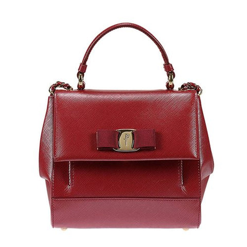 Salvatore Ferragamo Salvatore Ferragamo Carrie Leather Shoulder Bag (Opera) # 21F570649461 Bags - DNovo