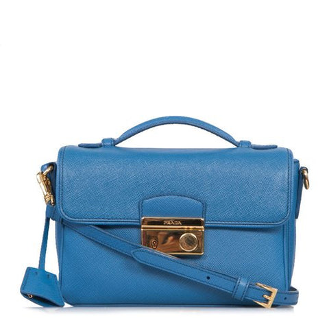 Prada Prada Small Cobalt Blue Saffiano Leather Crossbody (Cobalto) Bags - DNovo