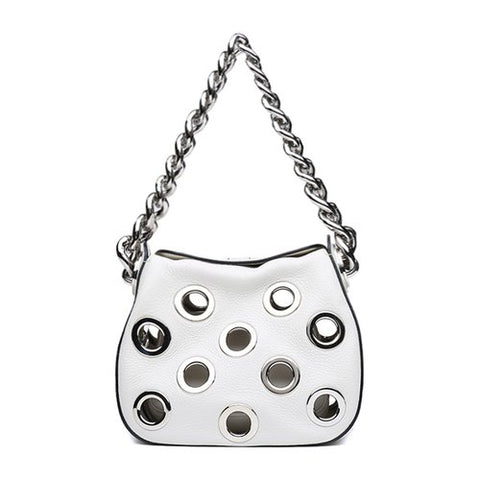 Prada Prada Top Chain Handle Grommet Rounded Tote Bag (White) Bags - DNovo