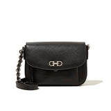 Salvatore Ferragamo Double Gancio Silver Hardware Shoulder Bag (Nero) # 21E977601861
