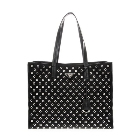 Prada Prada Black Tessuto Leather Grommet Tote Bag (Nero) Bags - DNovo