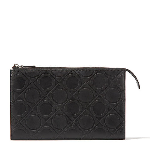 Salvatore Ferragamo Salvatore Ferragamo Embossed Clutch (Nero) # 660412645718 Small Leather Goods - DNovo