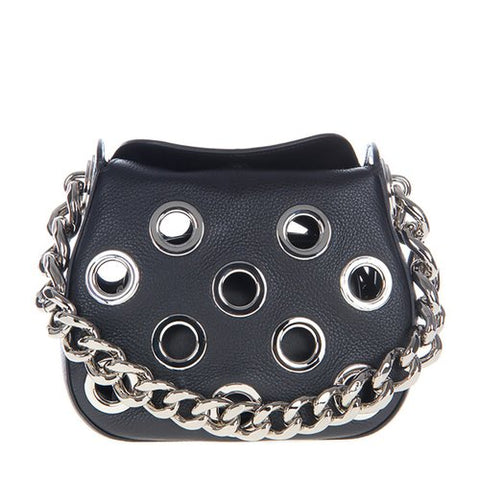 Prada Prada Top Chain Handle Grommet Rounded Tote Bag (Nero) Bags - DNovo