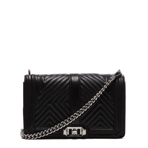 Rebecca Minkoff Geo Quilted Love Crossbody Bag (Black)