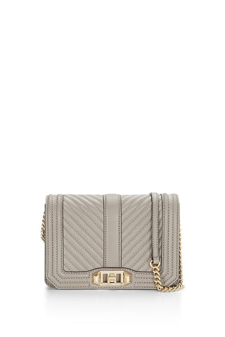 Rebecca Minkoff Chevron Quilted Small Love Crossbody Bag (Mushroom)
