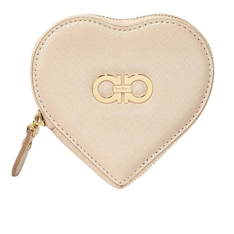 Salvatore Ferragamo Gancini Icon Heart Coin Purse (New Bisque) # 22C113585056