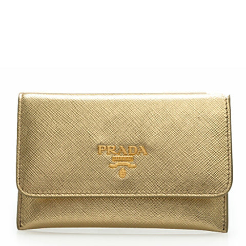 Prada Prada Saffiano Metal Card Holder Wallet (Platino) Small Leather Goods - DNovo