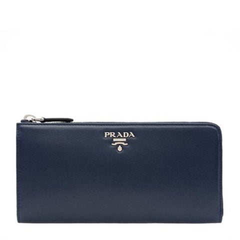 Prada Prada Saffiano Box Calf Half Zip Around Wallet (Baltico /Astrale) Small Leather Goods - DNovo