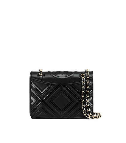 Tory Burch Fleming Geo-Leather Medium Bag (Black)