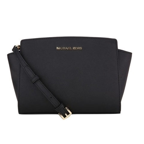 Michael Kors Michael Kors Selma Medium Saffiano Leather Messenger Bag (Black) Bags - DNovo