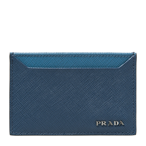 Prada Prada Logo Plaque Card Holder (Bluette) Small Leather Goods - DNovo