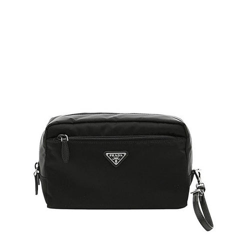 Prada Prada Logo Plaque Makeup Clutch (Nero) Small Leather Goods - DNovo