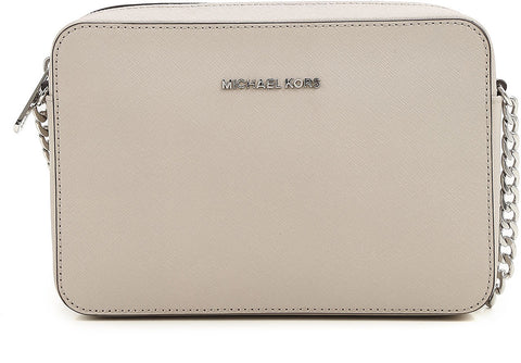 Michael Kors Michael Kors Jet Set Travel Large Saffiano Leather Crossbody Bag (Cement) Bags - DNovo