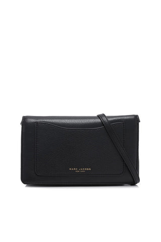 Marc Jacobs Marc Jacobs Recruit Pebbled Leather Wallet On Strap (Black) Bags - DNovo