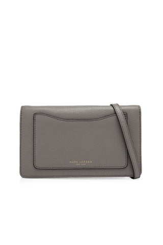 Marc Jacobs Marc Jacobs Recruit Pebbled Leather Wallet On Strap (Mink) Bags - DNovo