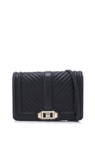 Rebecca Minkoff Rebecca Minkoff Chevron Quilted Small Love Crossbody Bag (Black) Bags - DNovo