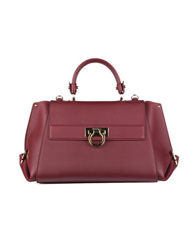 Salvatore Ferragamo Salvatore Ferragamo Leather Shopping Bag (Bordeaux) # 21F606642792 Bags - DNovo