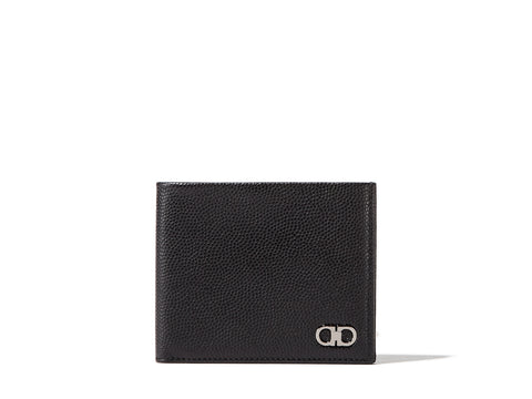 Salvatore Ferragamo Gancio Pebbled Bifold Wallet (Nero) # 669791588867