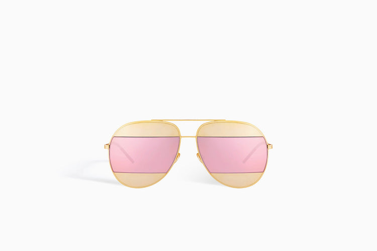 "CHRISTIAN DIOR ""DIORSPLIT"" SUNGLASSES, GOLD-TONE AND PINK"