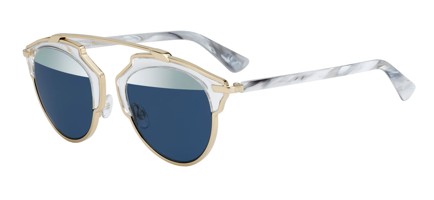 "CHRISTIAN DIOR ""DIORSOREAL"" SUNGLASSES IN GOLD AND BLUE"