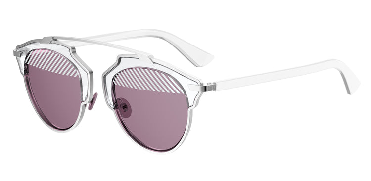 "CHRISTIAN DIOR ""DIORSOREAL"" SUNGLASSES IN SILVER AND PURPLE"