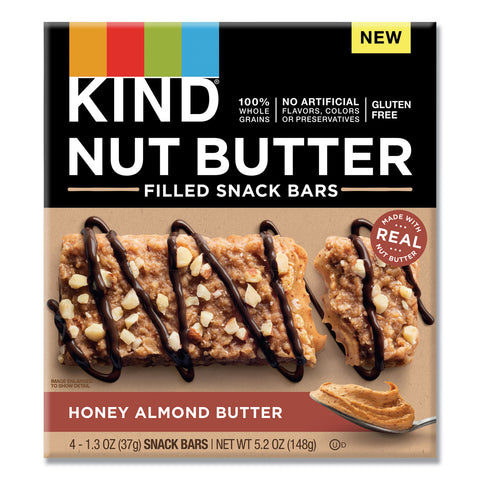 KIND Nut Butter Filled Snack Bars, Honey Almond Butter, 1.3 oz, 4/Pack