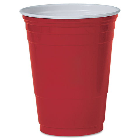Dart Solo Plastic Party Cold Cups, 16oz, Red, 50/Pack