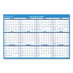 AT-A-GLANCE Horizontal Erasable Wall Planner, 48 x 32, Blue/White, 2020 - Blue/White / 48 x 32
