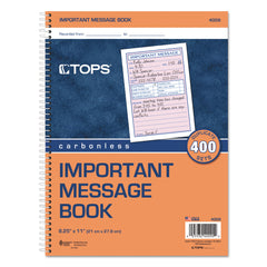 TOPS Telephone Message Book, Fax/Mobile Section, 5 1/2 x 3 3/16, Two-Part, 400/Book