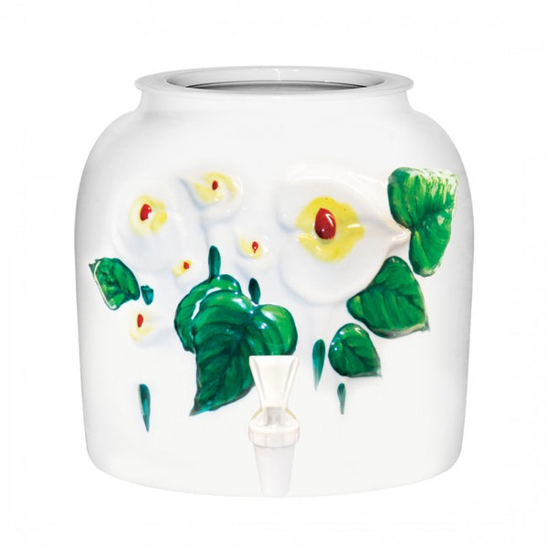 2.5 Gallon Porcelain Water Crock Dispenser With Crock Protector Ring and Faucet - Embossed Lilies