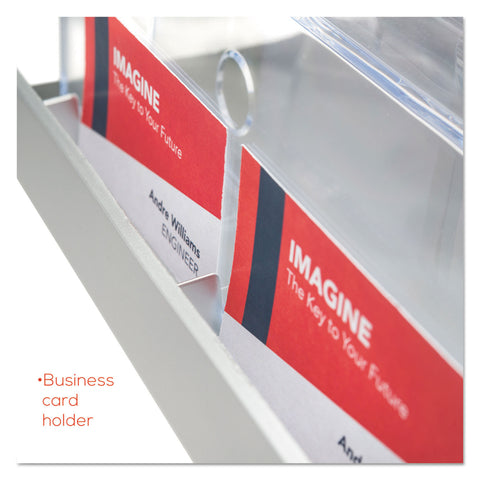 deflecto 3-Tier Literature Holder, Leaflet Size, 11.25w x 6.94d x 13.31h, Silver - Silver / Business Cards; Magazines