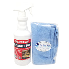 Stone Pro Ultimate Pro - Impregnating Sealer for Dense Stone - 1 Quart Spray Bottle with Microfiber Cloth