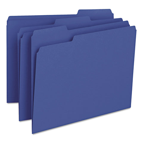 Smead Colored File Folders, 1/3-Cut Tabs, Letter Size, Navy Blue, 100/Box - Navy Blue / Letter