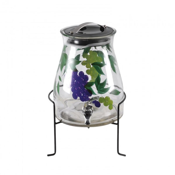 2.1 Gallon Glass Juice Container With Grape Leaves w/ Valve Lid & Stand - Beautiful Design Great For Wine Lovers