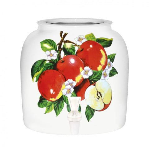 2.5 Gallon Porcelain Water Crock Dispenser With Crock Protector Ring and Faucet - Sliced Apple