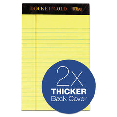 TOPS Docket Gold Ruled Perforated Pads, Narrow Rule, 5 x 8, Canary, 50 Sheets, 12/Pack - Canary / 5 x 8