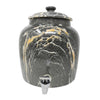 2.5 Gallon Porcelain Crock With Matching Lid - Black Blend Classic Marble