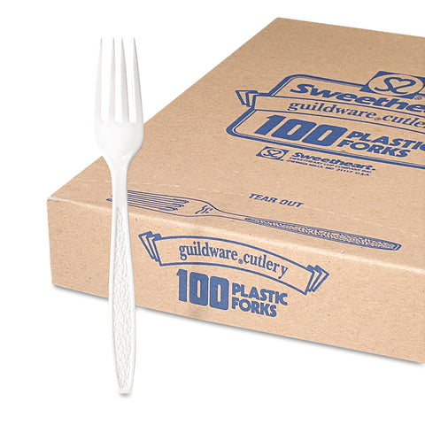 Dart Guildware Heavyweight Plastic Forks, White, 100/Box, 10 Boxes/Carton - White