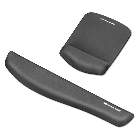 Fellowes PlushTouch Mouse Pad with Wrist Rest, Foam, Graphite, 7 1/4 x 9-3/8