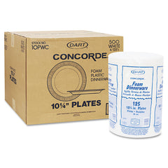 "Dart Concorde Foam Plate, 10 1/4"" dia, White, 125/Pack, 4 Packs/Carton"
