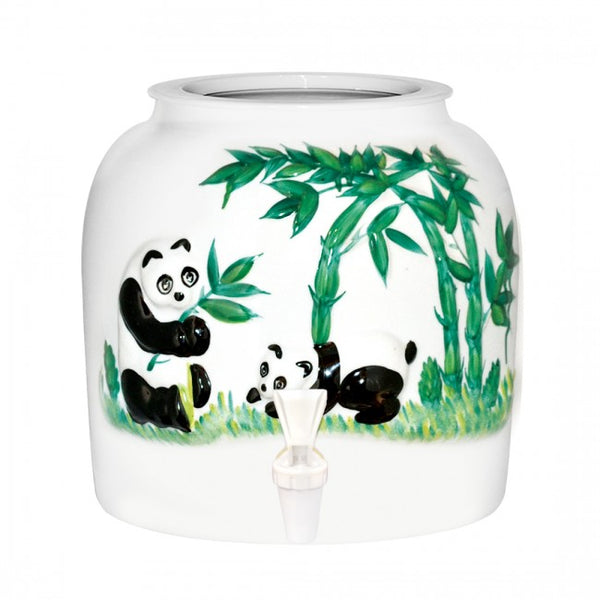 2.5 Gallon Porcelain Water Crock Dispenser With Crock Protector Ring and Faucet - Embossed Panda