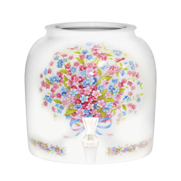 2.5 Gallon Porcelain Water Crock Dispenser With Crock Protector Ring and Faucet - Pink Forget Me Not