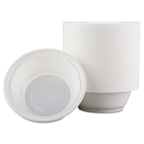 Dart Famous Service Plastic Dinnerware, Bowl, 12oz, White, 125/Pack, 8 Packs/Carton - White