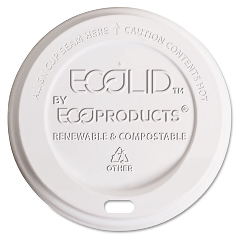 Eco-Products EcoLid Renewable/Compostable Hot Cup Lid, Fits 10-20oz Hot Cups, 50/PK, 16 PK/CT