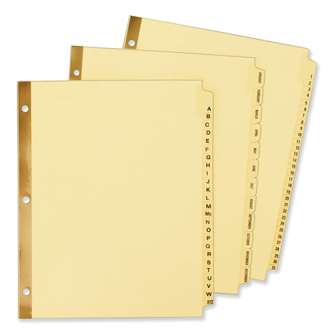 Avery Preprinted Laminated Tab Dividers w/Gold Reinforced Binding Edge, 31-Tab, Letter
